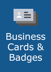 business cards and badges